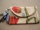 Two Red Tulips keychain wallet